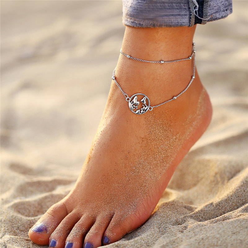IF ME Bohemian Vintage Silver Color Flower Anklets for Women Multilayer Beach Bracelet on Leg Ankle Foot Female Jewelry 2019 NEW 3