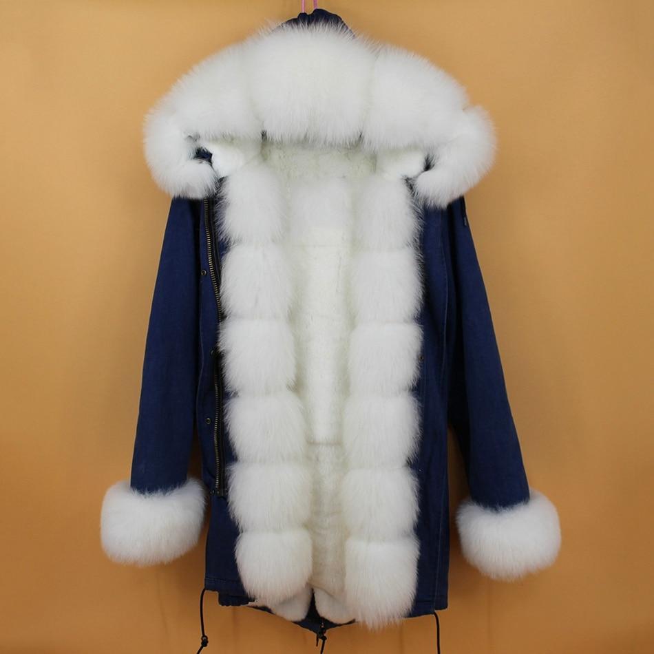 women demin fur parka natural fox fur hoody  (3)