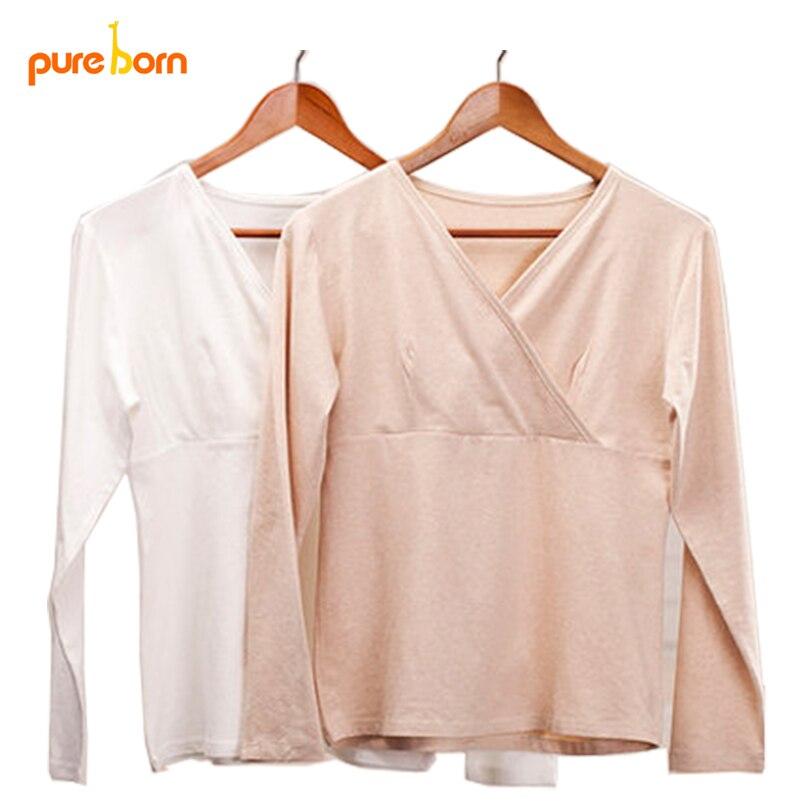 Pureborn V Neck T-shirt Clothes for Pregnant Women Clothing for Breast Feeding Organic Cotton Maternity Nursing Base Shirt 2017 dark grey lace up design v neck t shirt