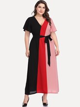 Elegant Ladies Dress Plus Size Summer Maxi Dress Women Casual Patchwork Dress Sashes Sexy V Neck Loose Vestidos 2019 Robe Femme plus size chiffon dress lady elegant patchwork loose dress summer casual daily office maxi dress 2019 short sleeve robe femme