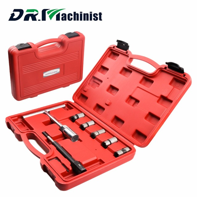 DR.Machinist Professional 7pcs/set Diesel Injector Nozzle Seat Cutter Cleaner Tool Set Carbon Remover Flat Reamer T handle Sets