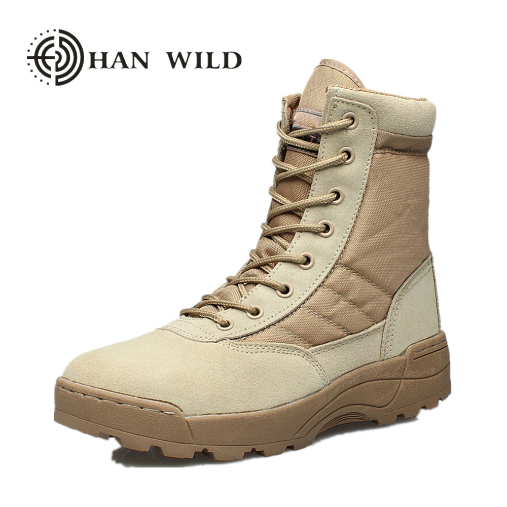 HAN WILD Men Desert Tactical Military Boots Mens Work Safty Shoes SWAT Army Boot Militar ...