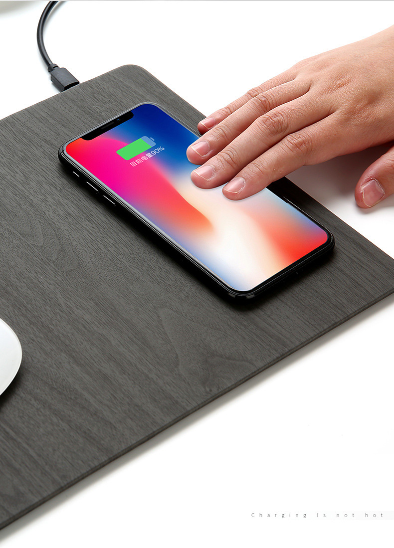 Fast Wireless MousePad Charger,2 in 1 Mouse PadMat Wood With Wireless Charger for iPhone X 8 7 Samsung Note 8S9S8 Qi Charger (5)