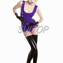 purple Latex Rubber Laced Flash-Back Dress(China)
