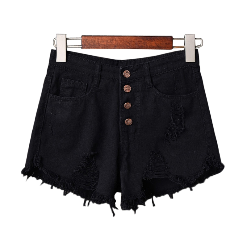 Womens Sexy High Waist Tassel Ripped Jeans Summer Large Size Denim Shorts #2