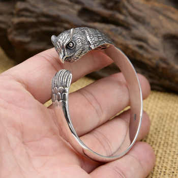 FNJ Punk Animal Owl Bangle 925 Silver Adjustable Size 56mm Fashion Original S925 Sterling Silver Bangles for Men Jewelry - DISCOUNT ITEM  30% OFF All Category