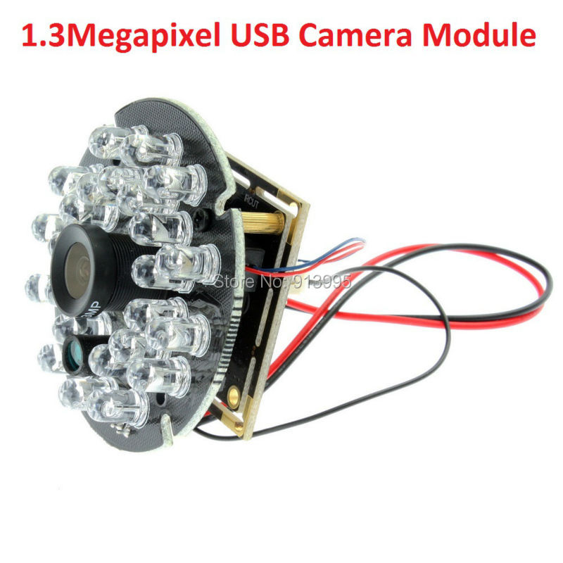H1.3mp HD Low Light AR0130 CMOS 8mm Lens Night Vision USB IR Camera Module with 5V infrared IR Led Illuminator Board for CCTV