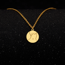 Gold Alloy Round Pendant Necklace for Women Simple Female Long Chain Coin Necklace Rose Flower Collier 2018 Wholesale