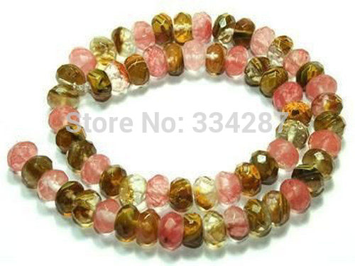 Hot sell Noble- FREE SHIPPING>>>@@ 5X8mm Faceted Roundel <font><b>Watermelon</b></font> <font><b>Tourmaline</b></font> Gem loose Beads 15