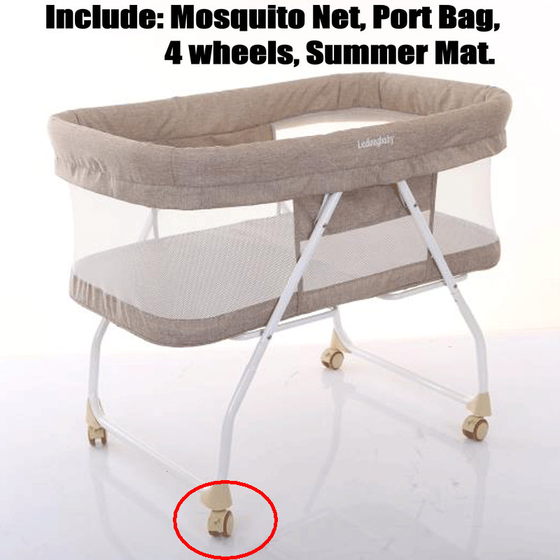 Portable Newborn Baby Crib With Port Bag Mosquito Net, Fold Infant Travel Crib, Simple Bassinet With 4 Wheels, Foldable Baby Bed