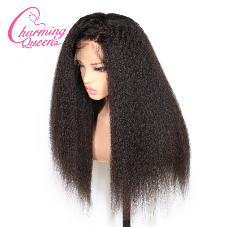 Charming Queen Lace Front Human Hair Wigs For Black Women Kinky Straight Pre Plucked Brazilian Remy