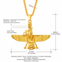 U7 Necklace Stainless Steel FARAVAHAR Iranian Vintage Pendant Chain For Men/Women Gift Gold/Black Color Jewelry Necklaces P1131