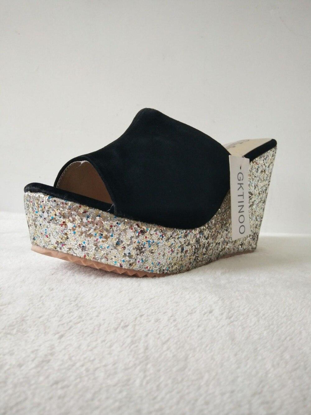 aa74e59cf0 2019 moda cekiny szpilki kapcie kobiety lato buty zamszowe sandały na  platformie panie kliny sandały klapki japonki