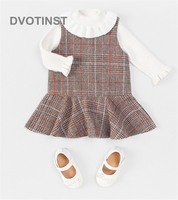 Dvotinst Newborn Baby Girls Clothes Bodysuits Dresses Lattice Dress Western Style Cute Outfits Infant Toddler Jumpsuit Costume