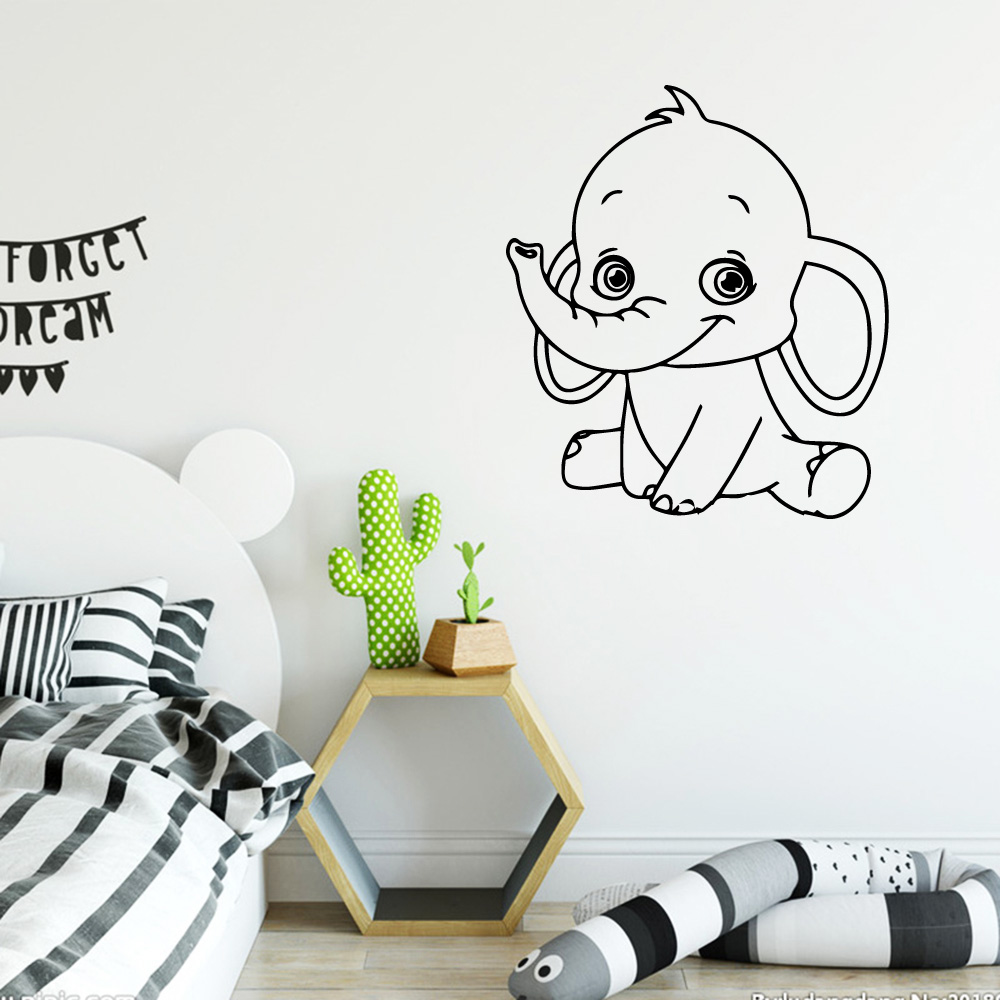Beauty Lovely Elephant Decal Removable Vinyl Mural Poster Wall Decorations Childrens Room Decal Creative Stickers in Wall Stickers from Home Garden