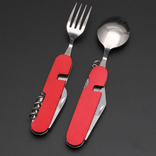 6 in1 Multifunction Outdoor Tableware Camping Stainless Steel Folding Kits for Hiking Survival Travel Cutlery