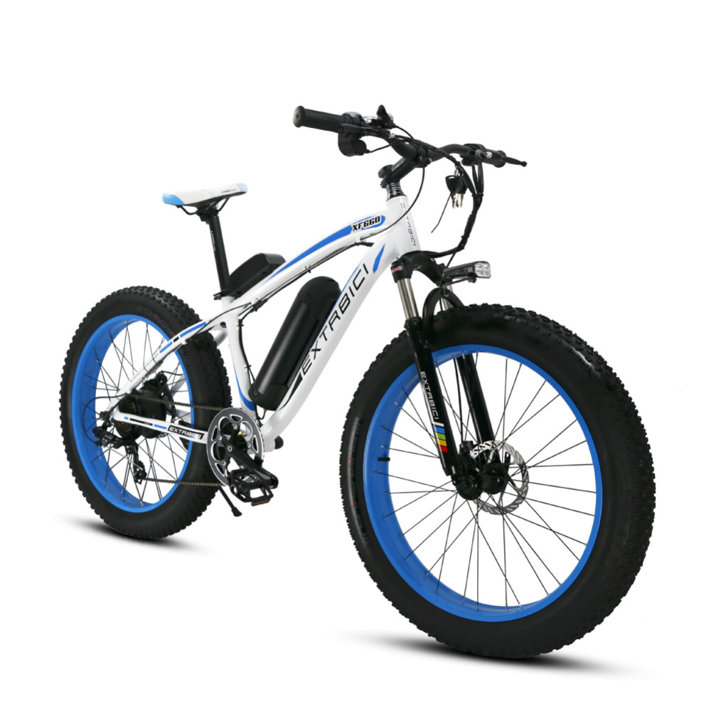 Mans White Blue Extrbici XF660 48V 500 Electric Bike Mountain Bike 7 Speeds Electric Bicycle Hydraulic Disc Brakes