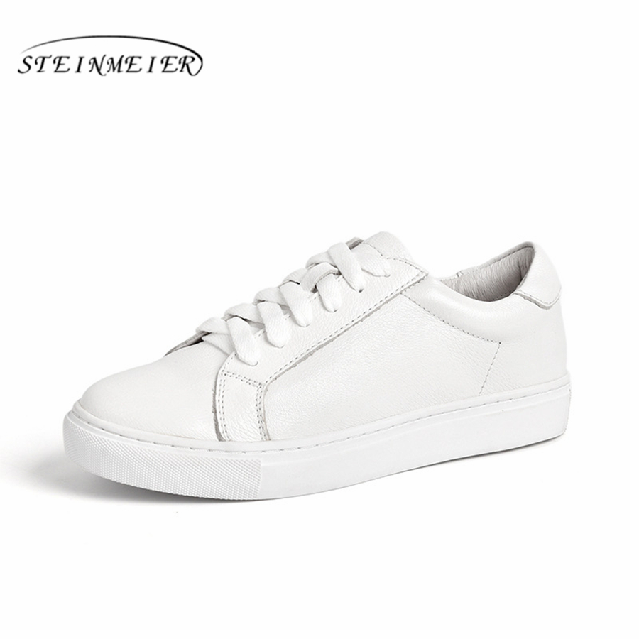 Genuine cow leather Sneakers designer vintage flat casual shoes lace up handmade oxford shoes for women