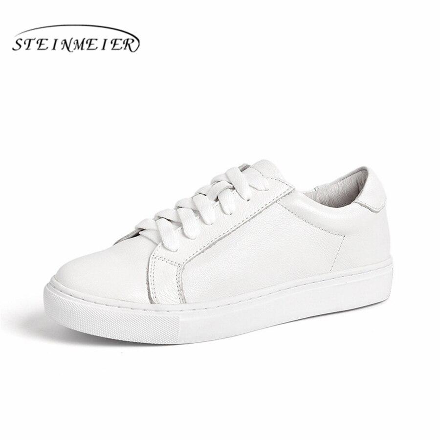 Ayakk.'ten Kadın Topuksuz Ayakkabı'de Hakiki inek deri sneakers tasarımcı vintage düz rahat ayakkabılar lace up el yapımı oxford ayakkabı kadınlar için beyaz 2019 bahar'da  Grup 1