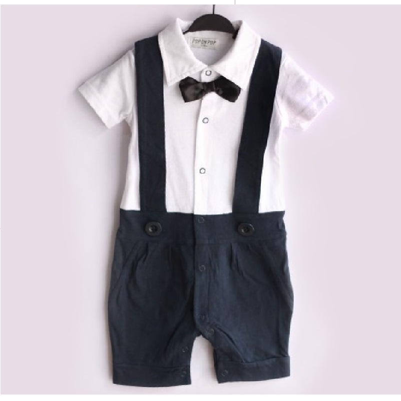 Navy Blue Baby Boy Tuxedo Rompers Gentleman Body Suit Babywear Bowties Baby Clothes 100% COTTON