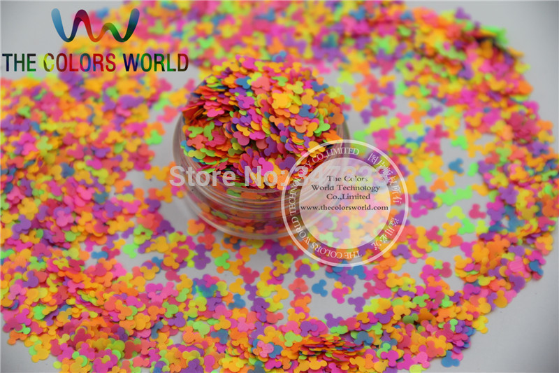 KN4-70 Mix Neon Color Solvent Resistant Glitter Mickey shape Glitter for Nail Polish,Art and DIY supplies1pack=50g high quality stainless steel money clips wallet folder clip collar metal clip simple money clip stainless steel money clamp hold