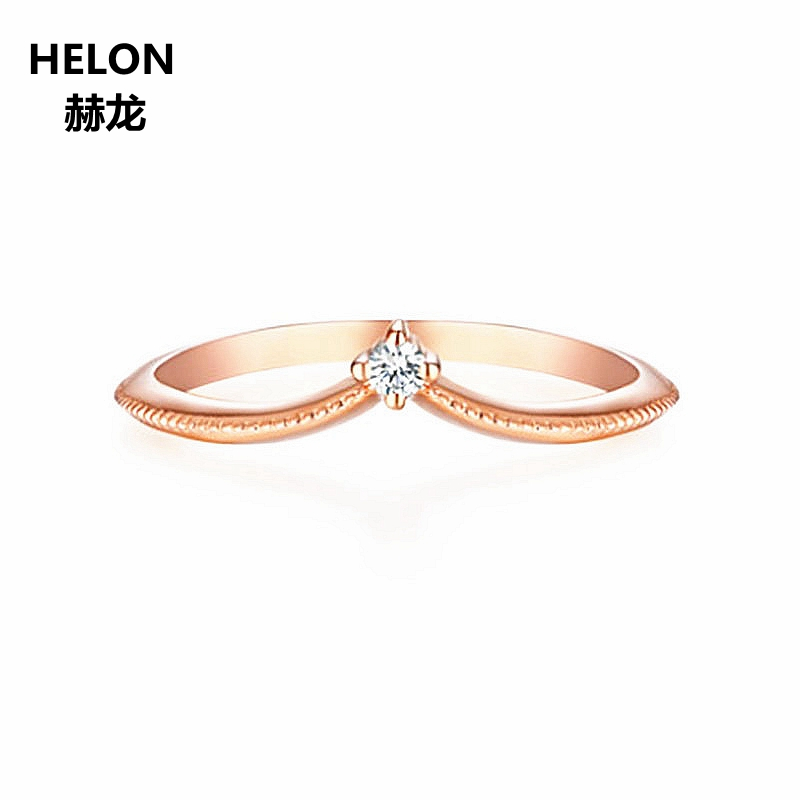 100% SI/H Full Cut Natural Diamonds Engagement Ring Solid 14k Rose Gold Wedding Band Millgrain V Shape Trendy Women Girl Jewelry solid 14k white gold engagement ring for women 100% si h natural diamonds wedding band millgrain v shape trendy jewelry