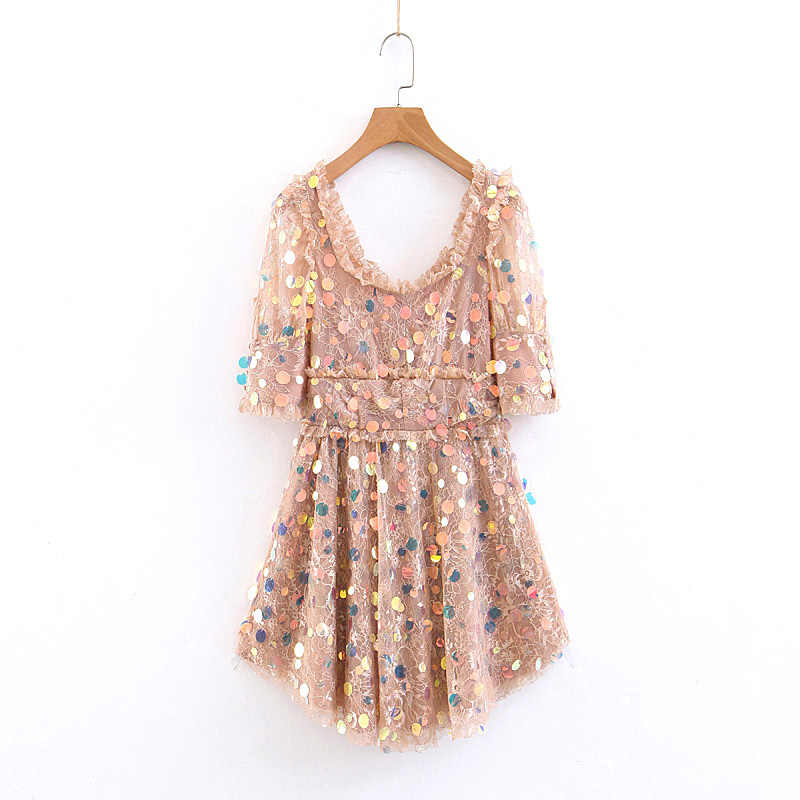 BBWM WOMAN New Fashion Women 스팽글 레이스 Patchwork Mini Dress Sweet Girls Pleated 앙 줄 드레스 캐주얼 Vestidos