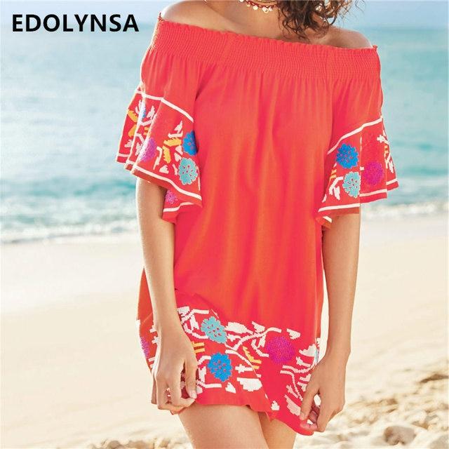 f6dbe581972 Embroidery Rayon Beach cover up Swimwear Women Bikini Cover ups Saida de  Praia Beach Dress Tunic Swimsuit Coverups #Q335