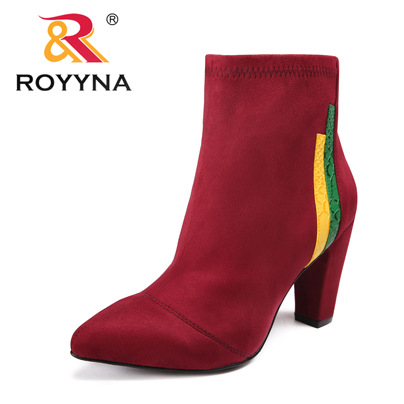 Envío coffee Mujeres Grey red Royyna Flock Botines Plush Punta Plush Estrecha Plush Cómodo light Libre Típico Black coffee Botas Invierno light black red Plush Nueva Llegada Zapatos Grey Estilo IFRxFU7
