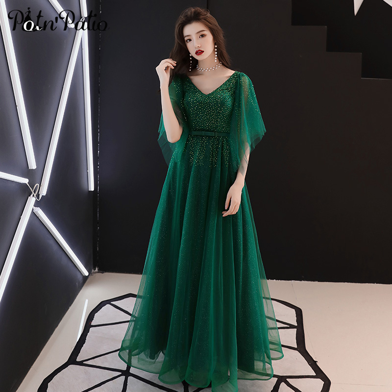 Green Tulle Crystal Evening Dresses Long V-neck With Cap Sleeves Ball Gown Formal Dresses For Women Plus Size Prom Dresses 2019