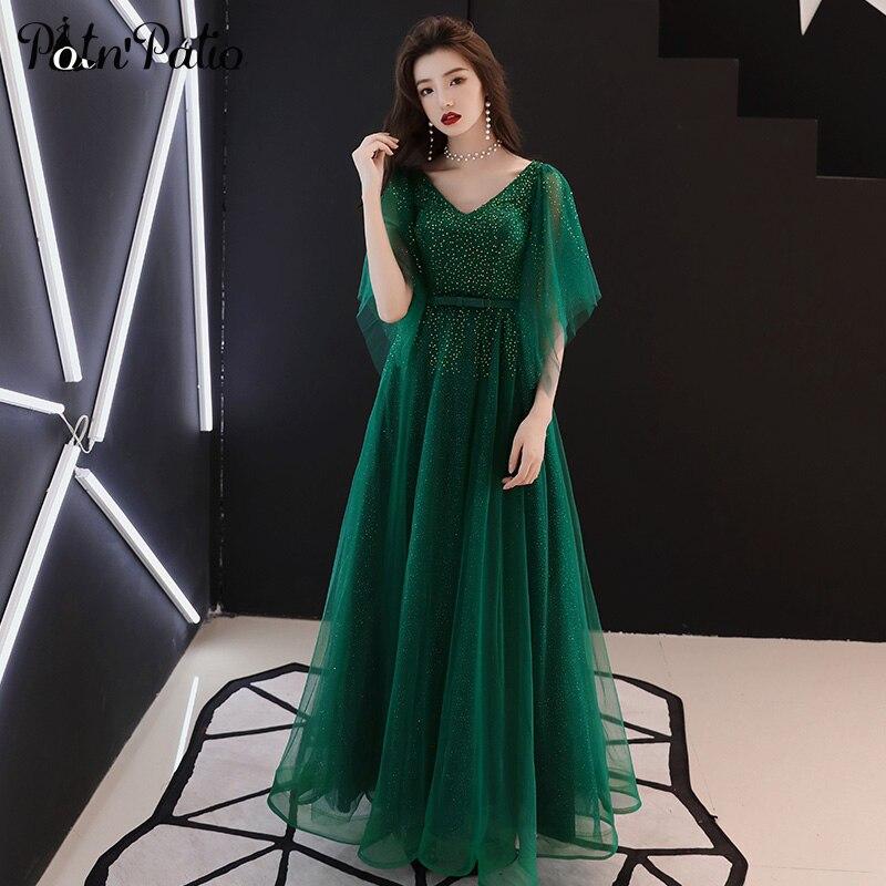 Vert Tulle cristal robes de soirée longue col en v avec capuchon manches robe de bal robes formelles pour les femmes grande taille robes de bal 2019