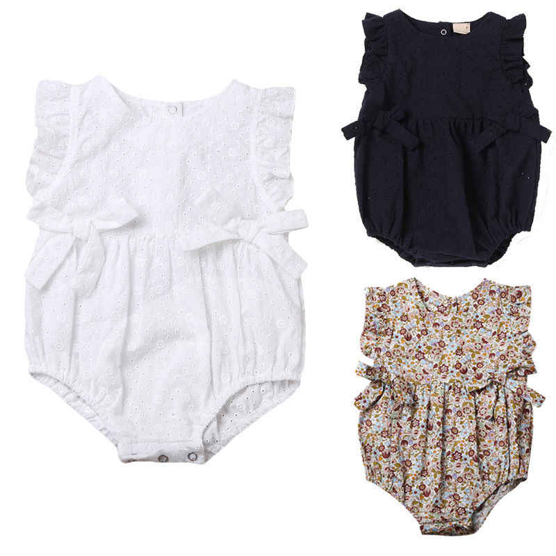 Top Newborn Toddler Infant Baby Girls Hollow Out Bodysuit One Pieces Jumpsuit Summer Sleeveless Sunduit 0-24M