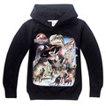 Crianças meninos hoodies manga longa com capuz do jurássico dinossauro t camisolas outerwear