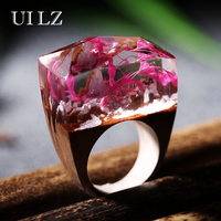 Luxury Brand Jewelry Unique Flower Resin Wooden Rings Vintage Handmade Ring For Christmas Gift JWRP038