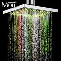 7 color led shower head led rain shower head square ABS light changing led shower temperature sensor