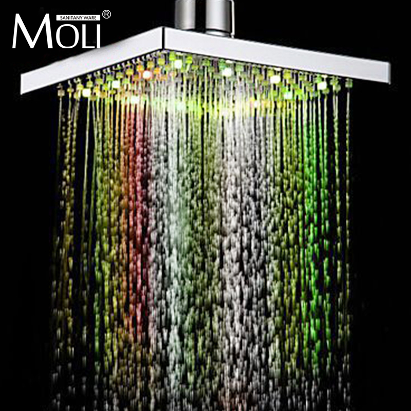 7 color led shower head led rain shower head square ABS light changing led shower temperature sensor shending ld8008 a9 temperature sensor rgb light changing 15 led handheld shower head silver