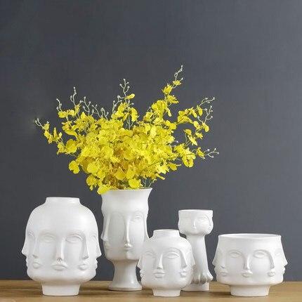 الأمريكية الإبداعية تصميم الغراس 3D الوجه متعددة الأوجه الأبيض الشمال السيراميك مصنع زُهرية مزخرفة الفن زهرة الأواني حامل حديقة-في أواني وأحواض زهور من المنزل والحديقة على  مجموعة 1