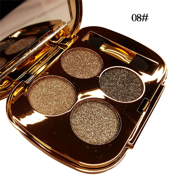 New 4 Colors Gold Smoky Cosmetics Diamond Bright Glitter Eye Shadow  Professional Eye Makeup Eyeshadow Palette 5
