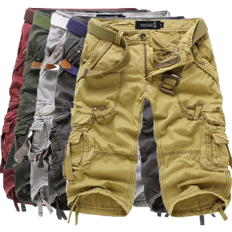 prevalent shop for newest pre order US $19.34 5% OFF|Top Selling 2017 Summer Calf Length Cargo mens 3/4 Three  Quarter Multi pocket Solid Men Beach Shorts Capris (no belt) 5820-in Cargo  ...