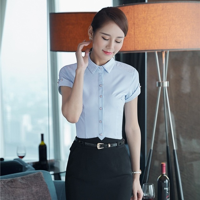 a3316ff3b052 Summer Formal Ladies Light blue Shirts Women Work Blouses Short Sleeve  Female Tops Office Uniform Styles OL