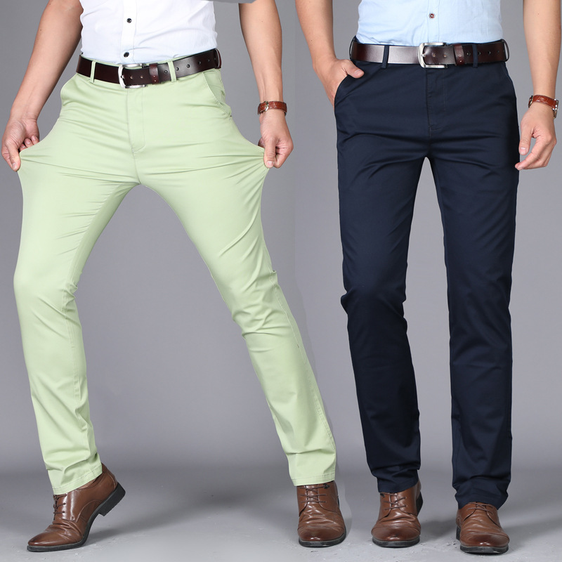 Summer Thin Casual Pants Men Elastic Straight Cotton Fashion Trousers Business Pants Plus Size 29-36 38 40 42