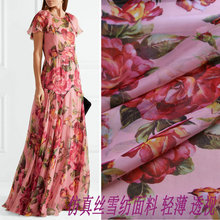 New summer floral chiffon fabric rose printing apparel fabri