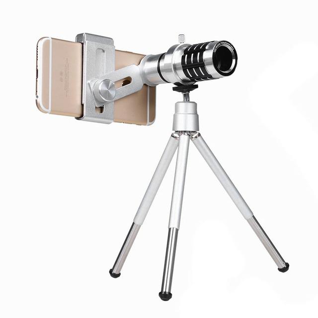 Nueva Universal Clip-on Long Focus Zoom 12X Telescopio Monocular Lente Universal Para Teléfono Móvil VHB52 T0.4