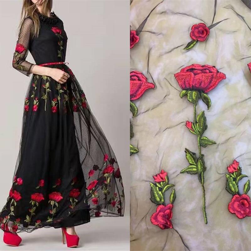 1 yards heavy net yarn rose embroidery vintage fabrics for Wedding dress fabric store