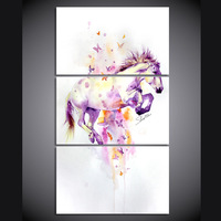 3 Panel Canvas Wall Art Canvas Abstract Colorful Butterfly Horse Home Decoration Picture For Living Room Poster Art Print