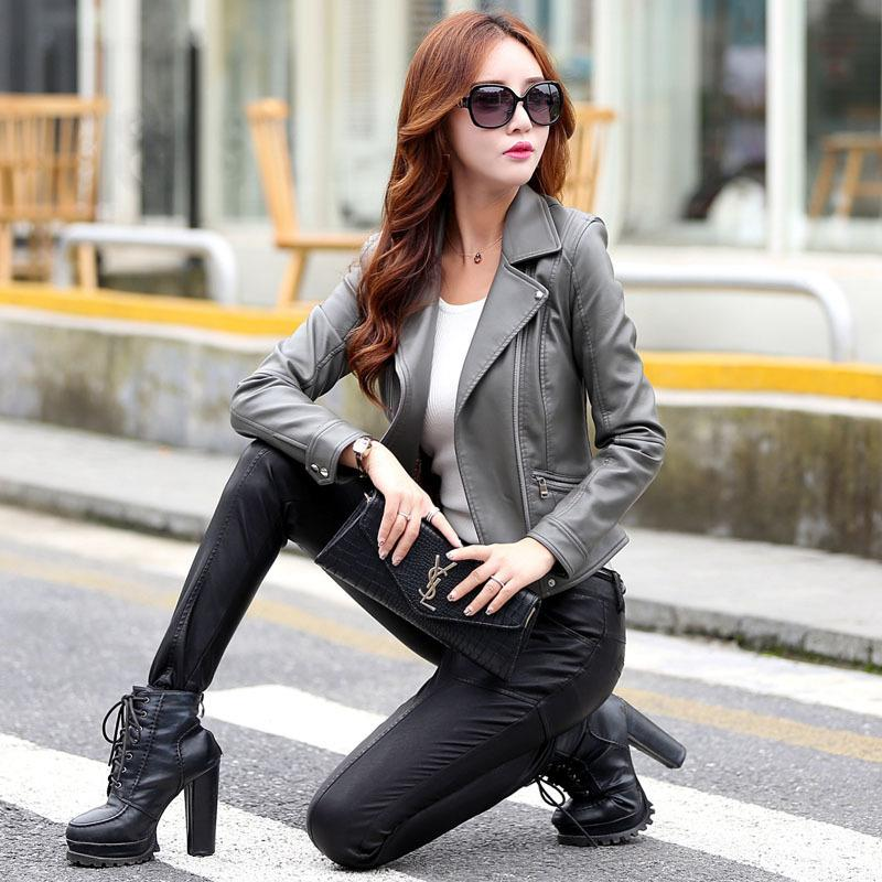 Autumn And Winter New Leather Leather Women Korean Version Of The Slim Motorcycle Leather Jacket Lapel Sheepskin Coat Large Size