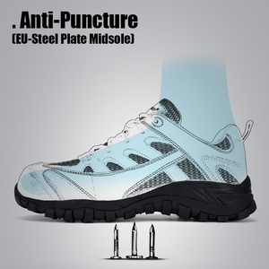 Image 3 - Mens Safety Shoes Leather With Steel Toe Cap Work boots Outdoor Light Weight Working Shoes