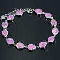 Elegante Roxo Gota de Água Forma Pulseiras de Prata Banhado A 925 SL039 Carimbado Opala Charme Pulseiras Para Mulheres Fine Jewelry Presente rosa
