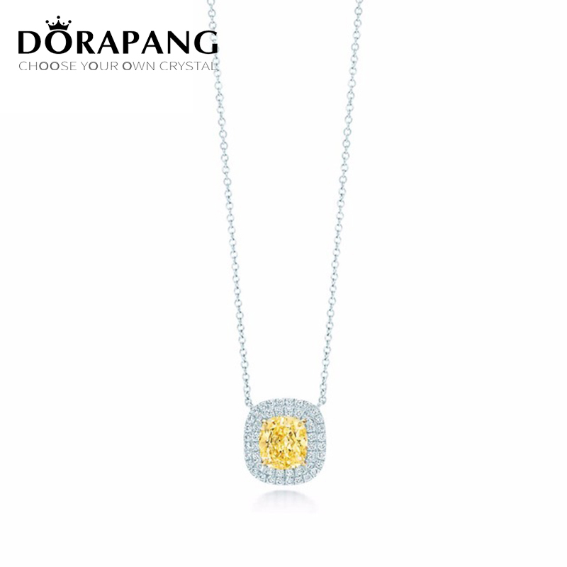 DORAPANG NEW Yellow Zirconium Pendant Necklace 100% 925 Sterling Silver Pendant Nature Fashion Women Jewelry Free Package Mail
