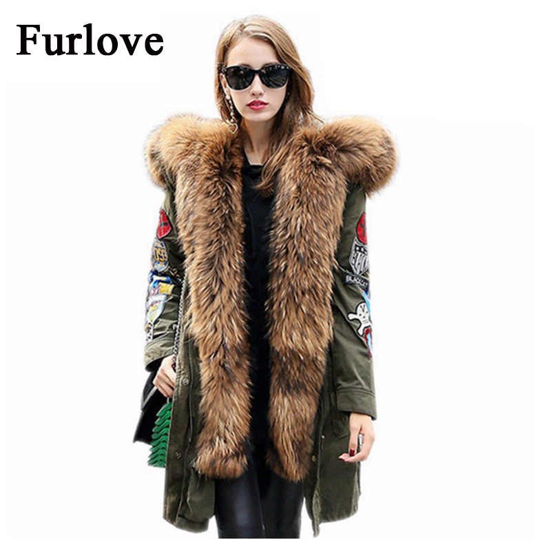 Winter Jacket Womens Down Jackets 2 in 1 Detachable Coats Real Raccoon Fur Collar Hooded Parka Embroidery Casual Thick Warm Coat down down down ii a bustle in your hedgerow… 2 lp